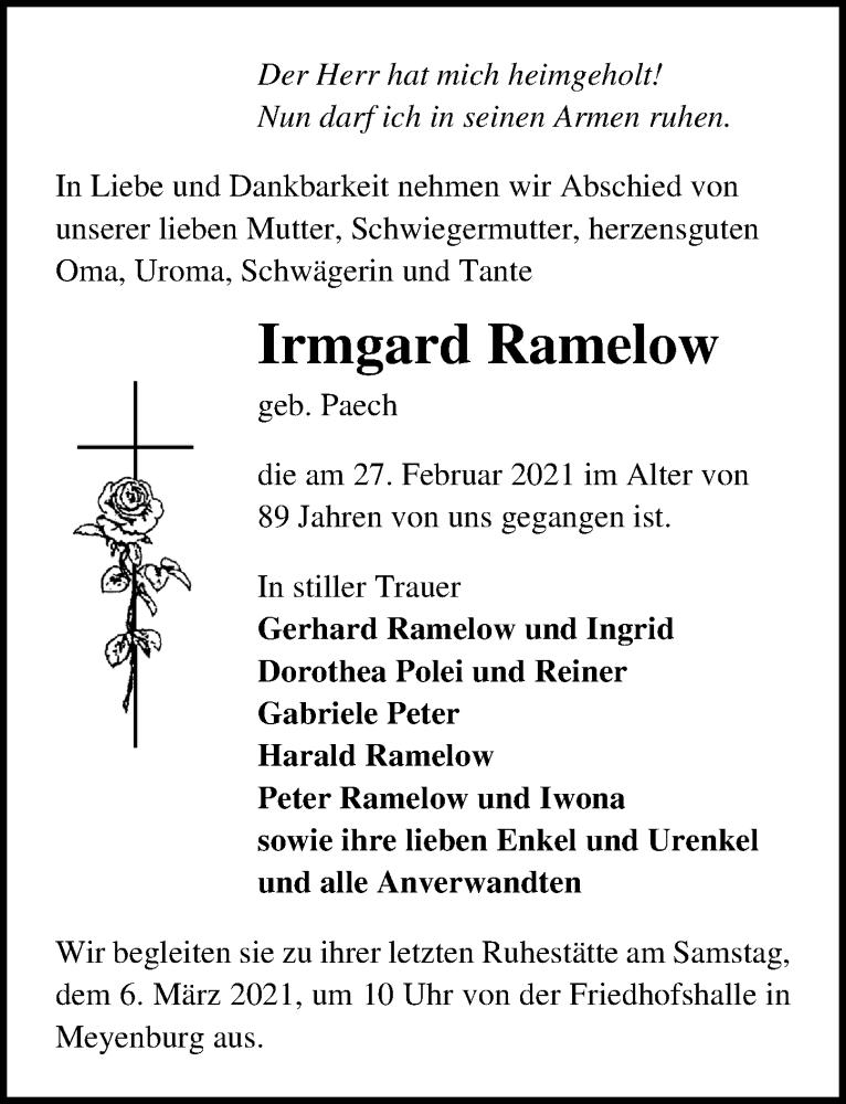 Traueranzeige für Irmgard Ramelow vom 03.03.2021 aus Märkischen Allgemeine Zeitung