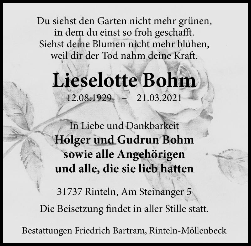 Traueranzeige für Lieselotte Bohm vom 27.03.2021 aus Schaumburger Nachrichten