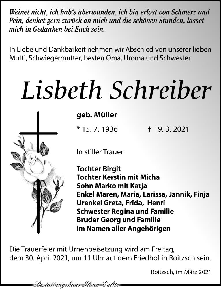 Traueranzeige für Lisbeth Schreiber vom 27.03.2021 aus Torgauer Zeitung