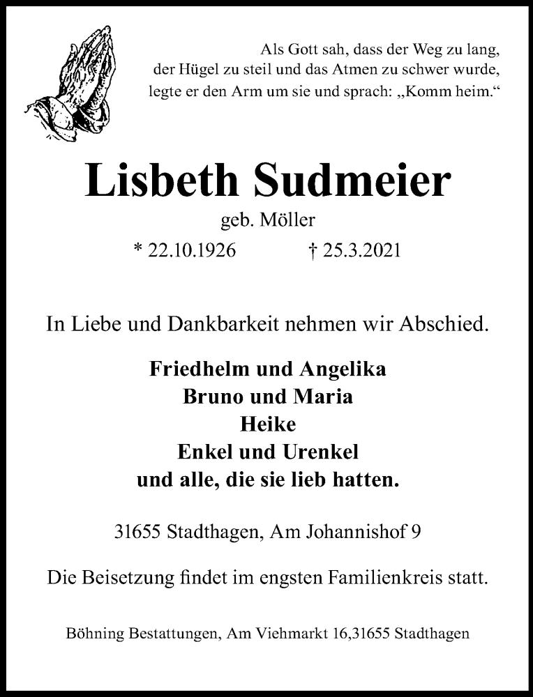 Traueranzeige für Lisbeth Sudmeier vom 27.03.2021 aus Schaumburger Nachrichten