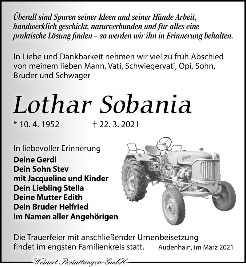 Traueranzeige für Lothar Sobania vom 27.03.2021 aus Torgauer Zeitung