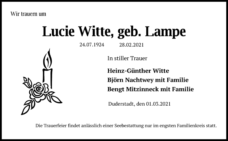 Traueranzeige für Lucie Witte vom 03.03.2021 aus Eichsfelder Tageblatt