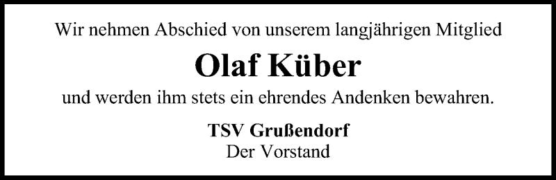 Traueranzeige für Olaf Küber vom 26.03.2021 aus Aller Zeitung
