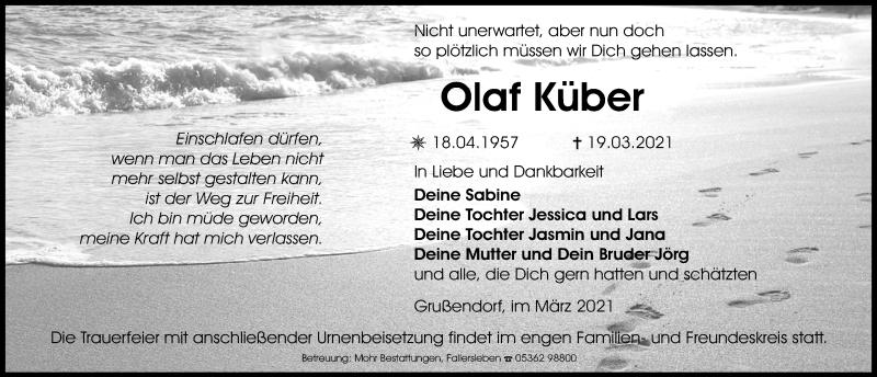 Traueranzeige für Olaf Küber vom 25.03.2021 aus Aller Zeitung