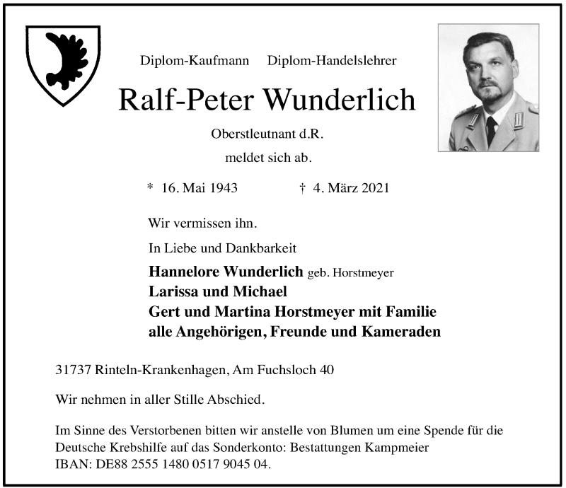 Traueranzeige für Ralf-Peter Wunderlich vom 13.03.2021 aus Schaumburger Nachrichten