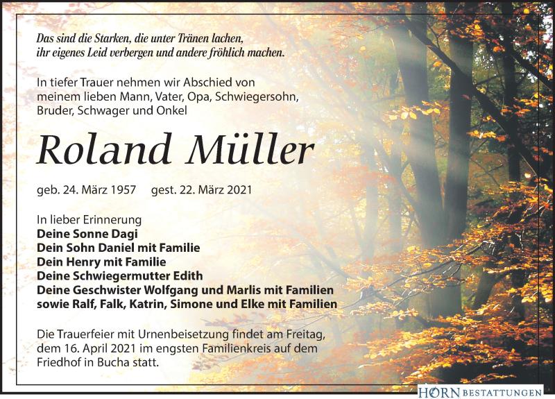 Traueranzeige für Roland Müller vom 27.03.2021 aus Leipziger Volkszeitung