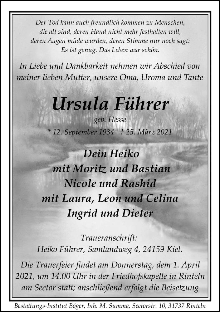 Traueranzeige für Ursula Führer vom 30.03.2021 aus Schaumburger Nachrichten