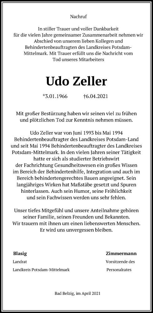 Traueranzeige für Udo Zeller vom 22.04.2021 aus Märkische Allgemeine Zeitung