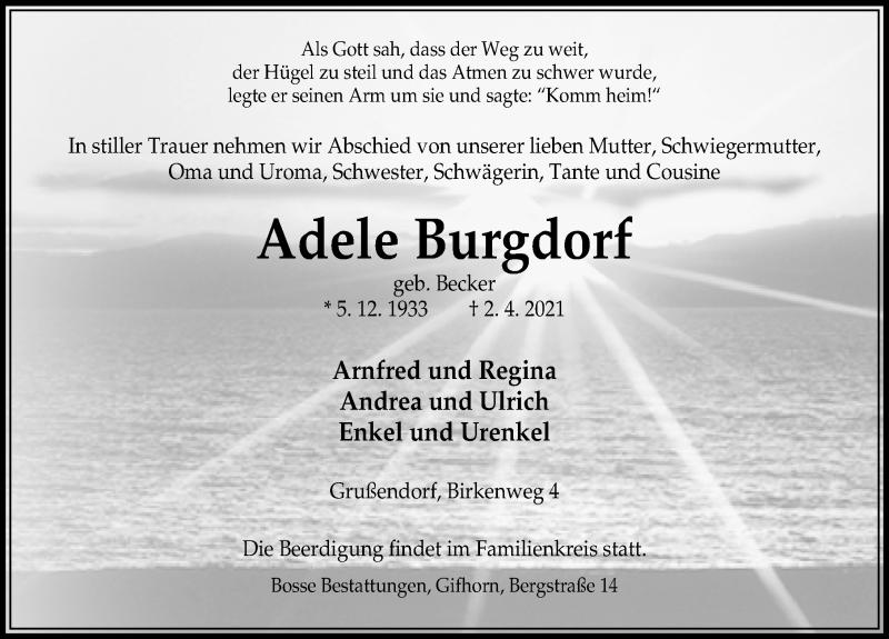 Traueranzeige für Adele Burgdorf vom 08.04.2021 aus Aller Zeitung
