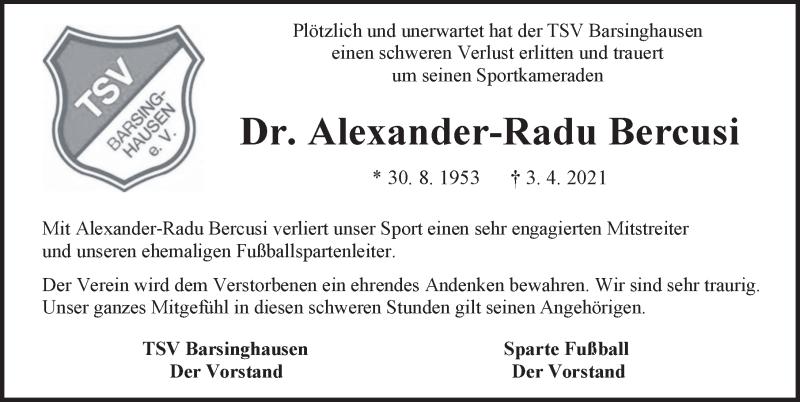 Traueranzeige für Alexander-Radu Bercusi vom 10.04.2021 aus Hannoversche Allgemeine Zeitung/Neue Presse