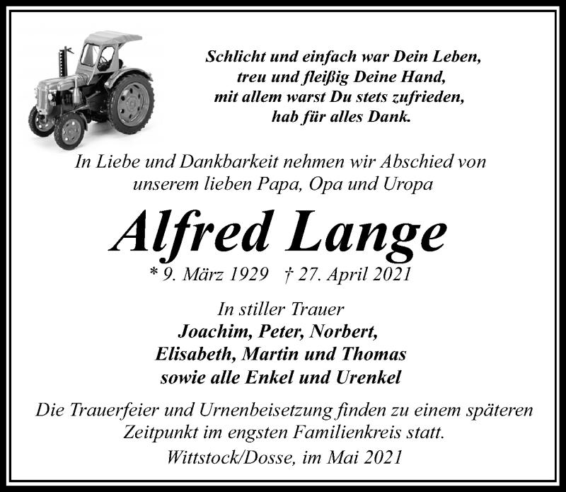 Traueranzeige für Alfred Lange vom 30.04.2021 aus Märkischen Allgemeine Zeitung