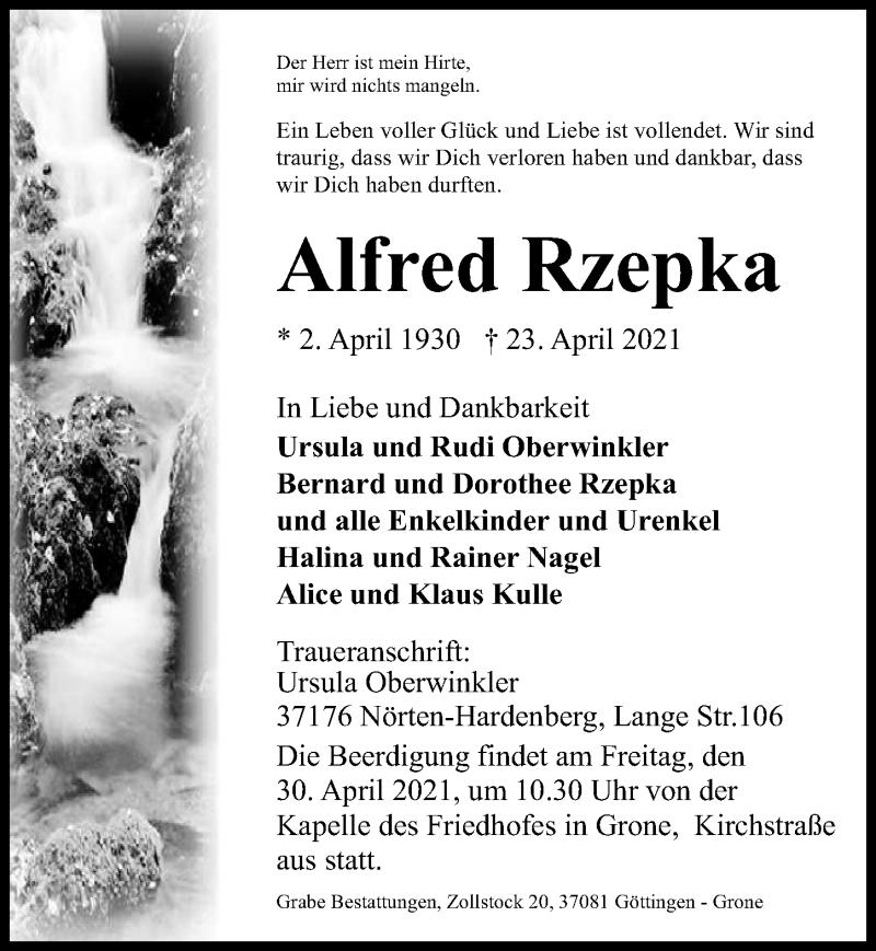 Traueranzeige für Alfred Rzepka vom 27.04.2021 aus Göttinger Tageblatt