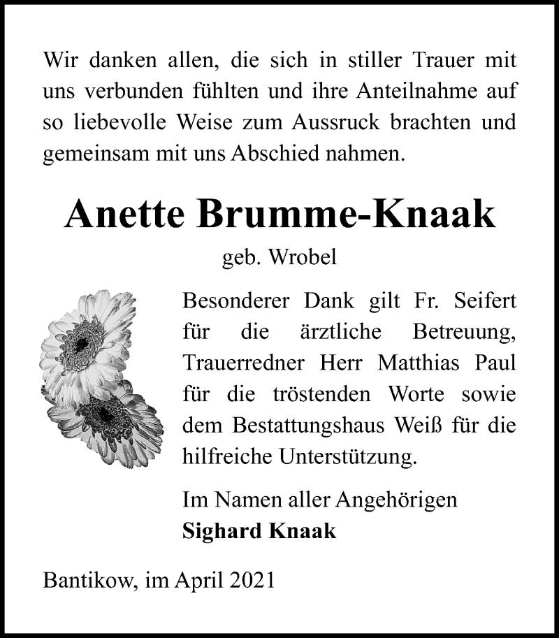 Traueranzeige für Anette Brumme-Knaak vom 17.04.2021 aus Märkischen Allgemeine Zeitung