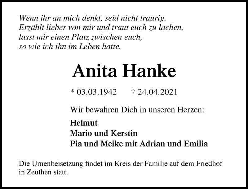Traueranzeige für Anita Hanke vom 30.04.2021 aus Märkischen Allgemeine Zeitung