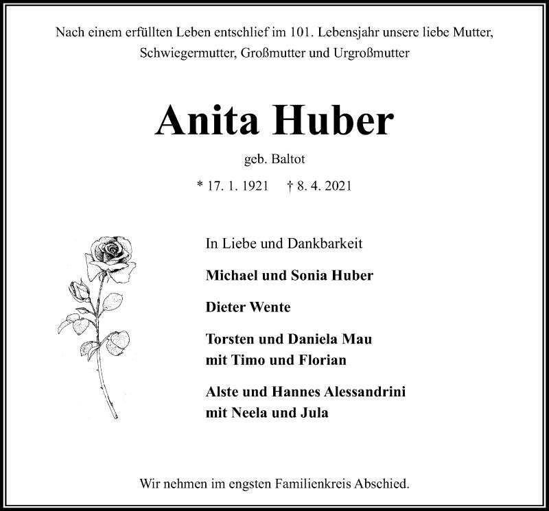 Traueranzeige von  Anita Huber
