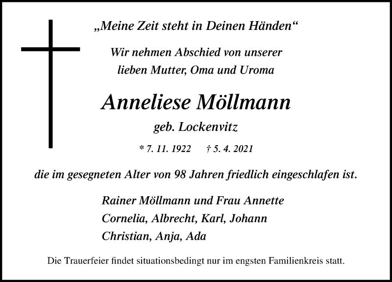Traueranzeige für Anneliese Möllmann vom 08.04.2021 aus Ostsee-Zeitung GmbH