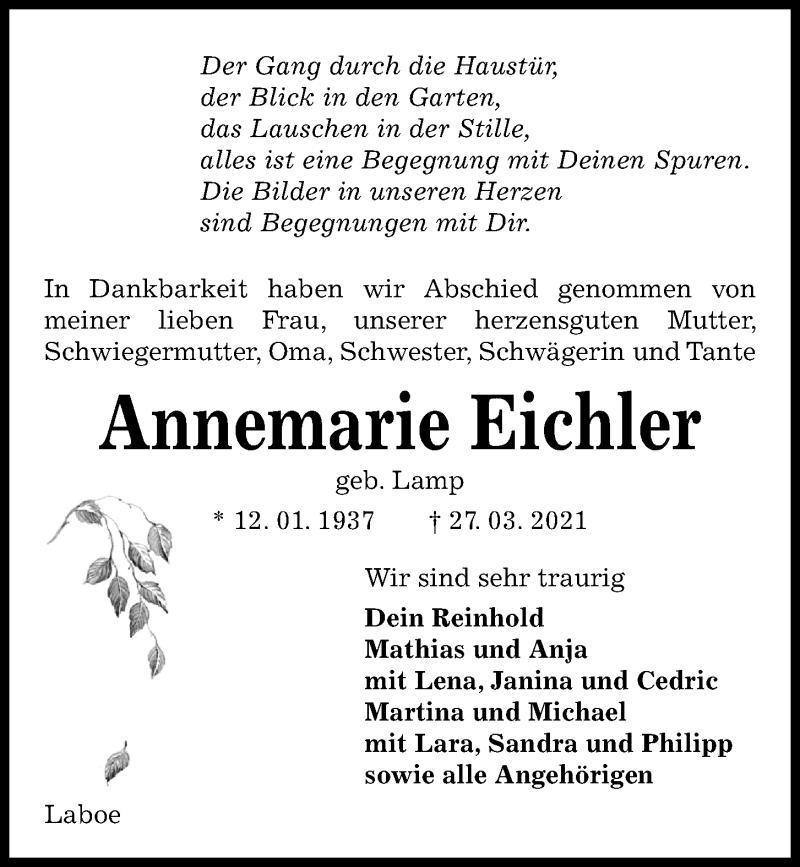 Traueranzeige für Annemarie Eichler vom 03.04.2021 aus Kieler Nachrichten