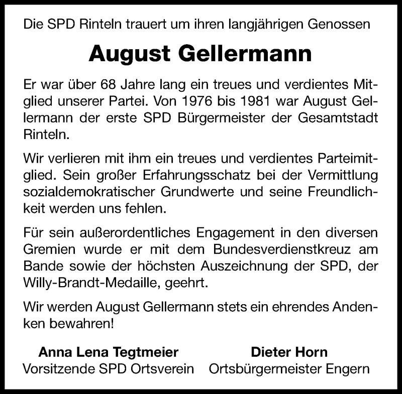 Traueranzeige für August Gellermann vom 30.04.2021 aus Schaumburger Nachrichten