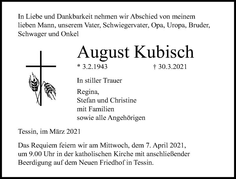 Traueranzeige für August Kubisch vom 03.04.2021 aus Ostsee-Zeitung GmbH