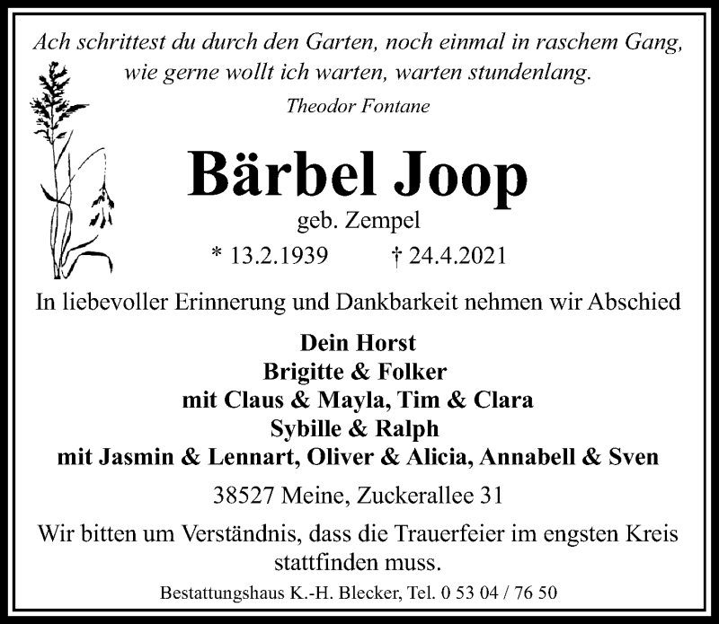 Traueranzeige für Bärbel Joop vom 30.04.2021 aus Aller Zeitung