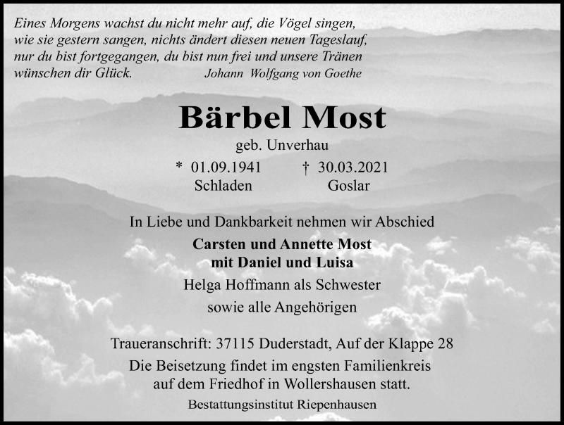 Traueranzeige für Bärbel Most vom 03.04.2021 aus Eichsfelder Tageblatt