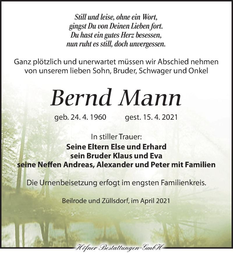 Traueranzeige für Bernd Mann vom 24.04.2021 aus Torgauer Zeitung