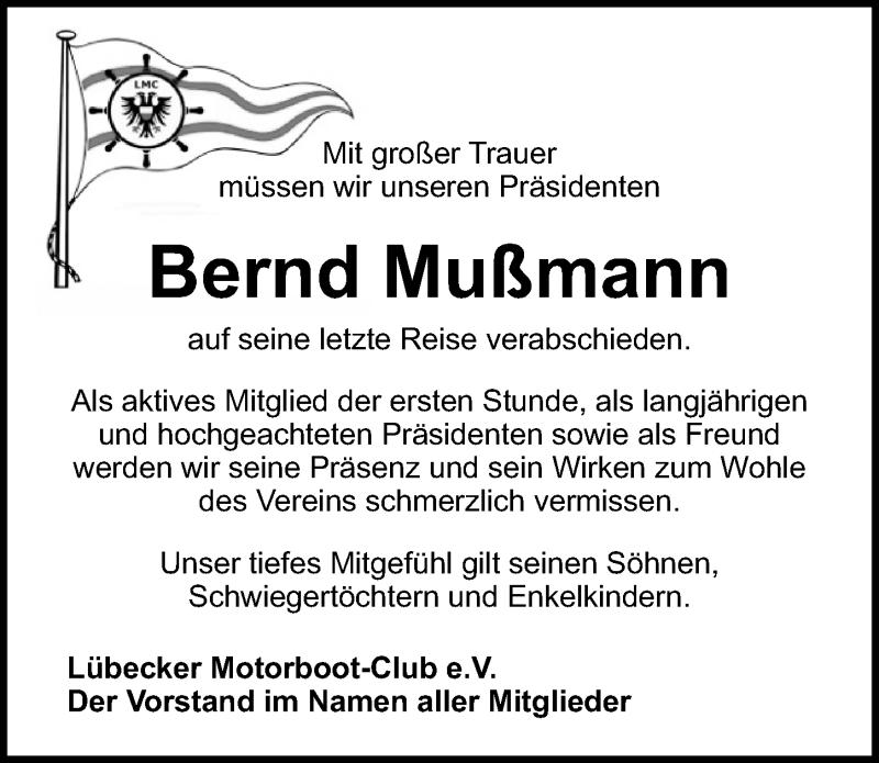 Traueranzeige für Bernd Mußmann vom 25.04.2021 aus Lübecker Nachrichten
