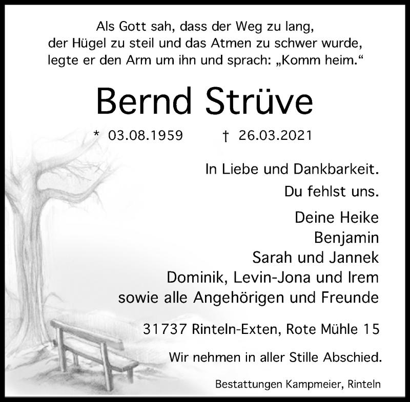 Traueranzeige für Bernd Strüve vom 03.04.2021 aus Schaumburger Nachrichten