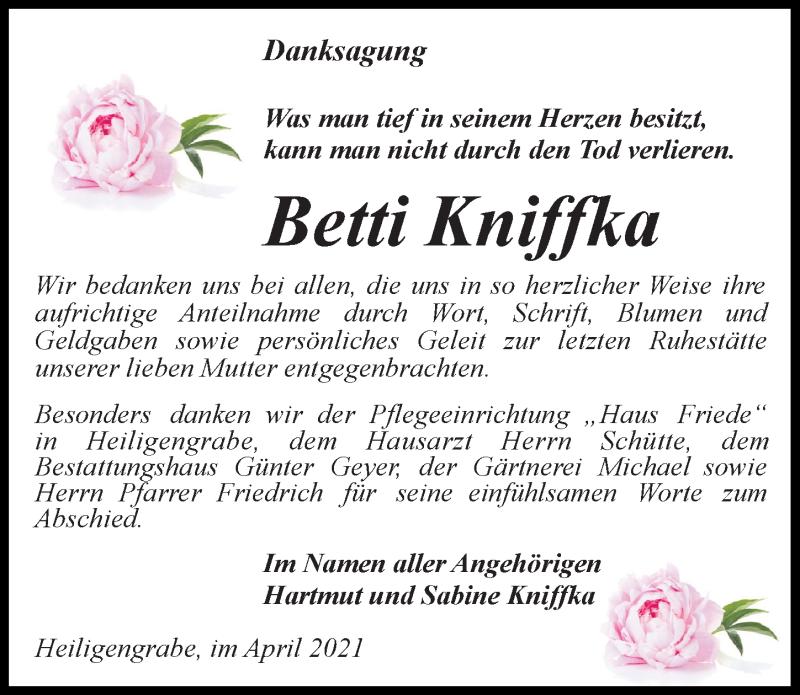 Traueranzeige für Betti Kniffka vom 17.04.2021 aus Märkischen Allgemeine Zeitung