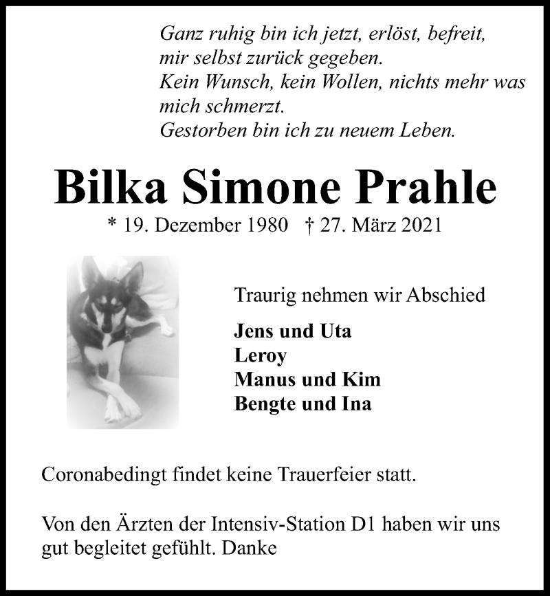 Traueranzeige für Bilka Simone Prahle vom 03.04.2021 aus Kieler Nachrichten