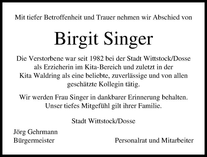 Traueranzeige für Birgit Singer vom 17.04.2021 aus Märkischen Allgemeine Zeitung