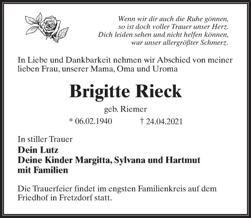 Traueranzeige für Brigitte Rieck vom 30.04.2021 aus Märkischen Allgemeine Zeitung