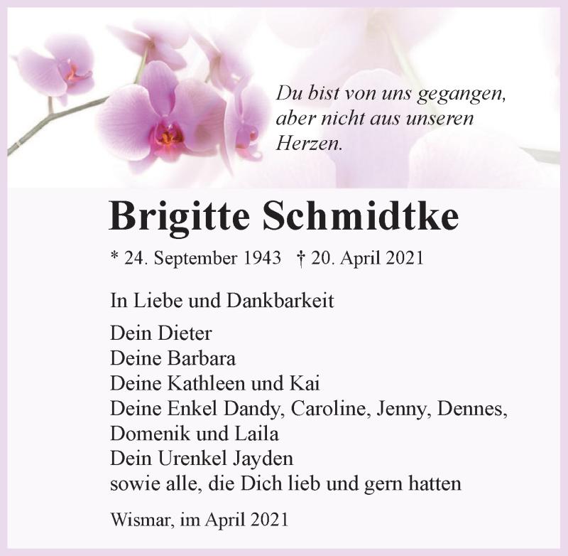 Traueranzeige für Brigitte Schmidtke vom 24.04.2021 aus Ostsee-Zeitung GmbH