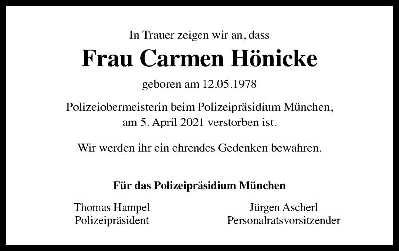 Traueranzeige für Carmen Hönicke vom 20.04.2021 aus Torgauer Zeitung