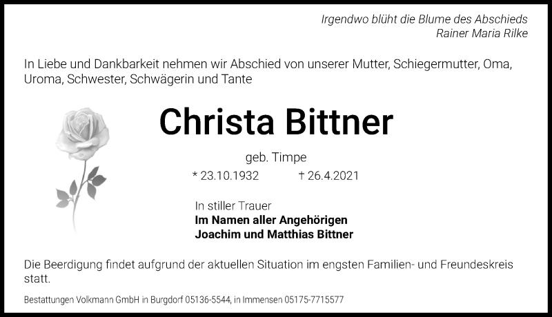 Traueranzeige für Christa Bittner vom 30.04.2021 aus Hannoversche Allgemeine Zeitung/Neue Presse