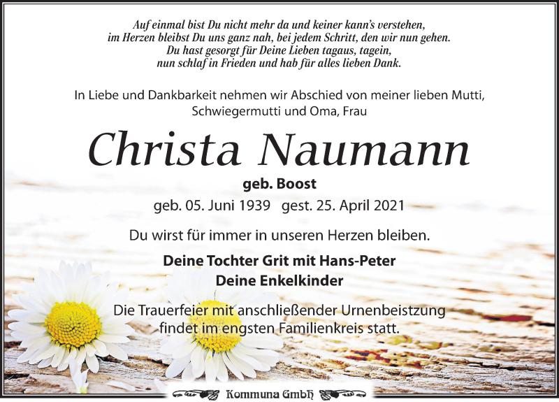 Traueranzeige für Christa Naumann vom 30.04.2021 aus Leipziger Volkszeitung