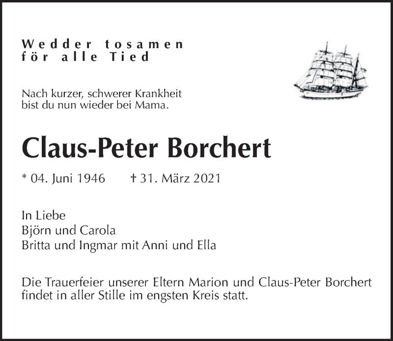 Traueranzeige für Claus-Peter Borchert vom 08.04.2021 aus Hannoversche Allgemeine Zeitung/Neue Presse