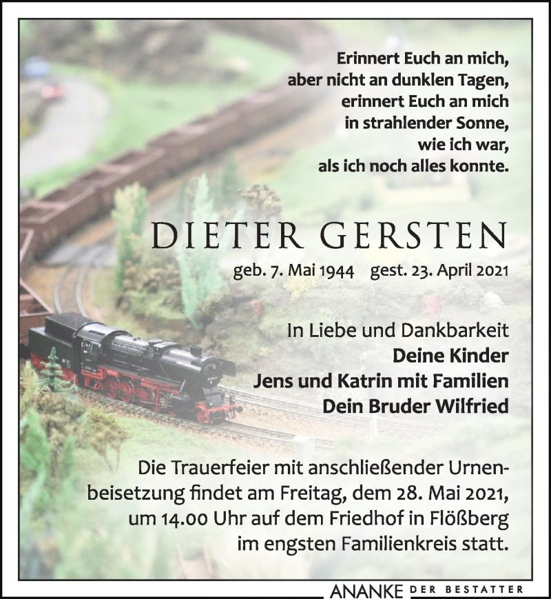 Traueranzeige für Dieter Gersten vom 30.04.2021 aus Leipziger Volkszeitung