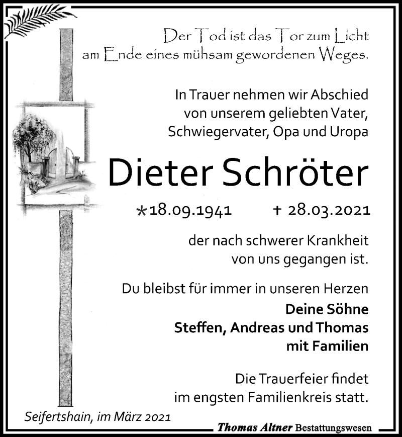Traueranzeige für Dieter Schröter vom 03.04.2021 aus Leipziger Volkszeitung