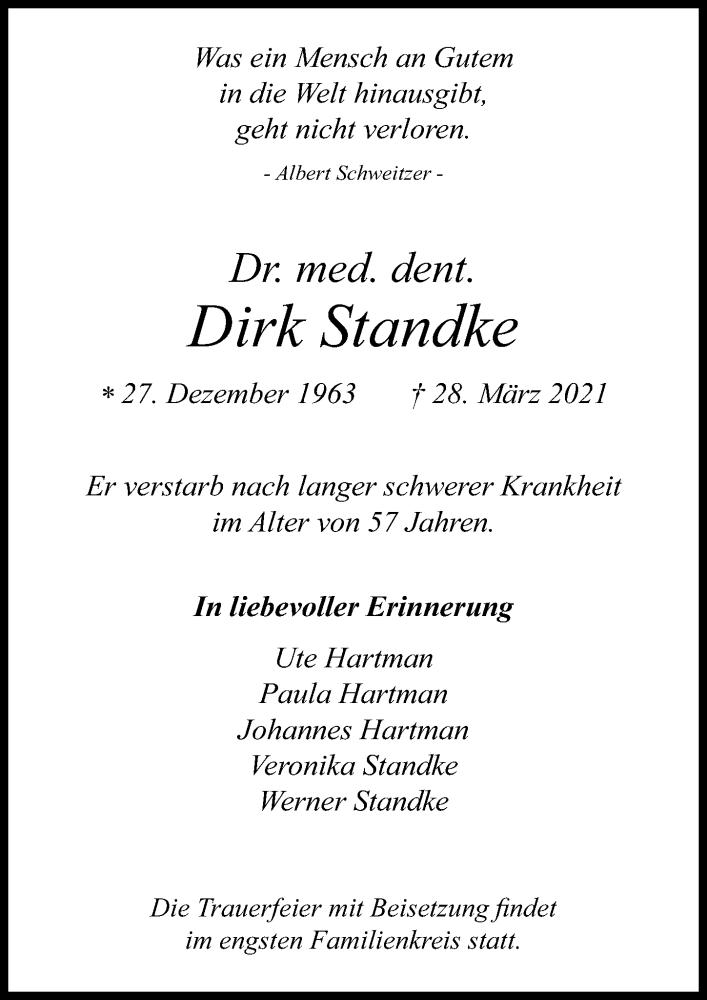 Traueranzeige für Dirk Standke vom 03.04.2021 aus Leipziger Volkszeitung