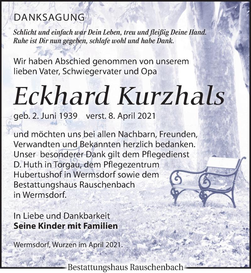 Traueranzeige für Eckhard Kurzhals vom 30.04.2021 aus Torgauer Zeitung