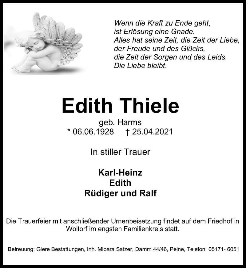 Traueranzeige für Edith Thiele vom 30.04.2021 aus Peiner Allgemeine Zeitung