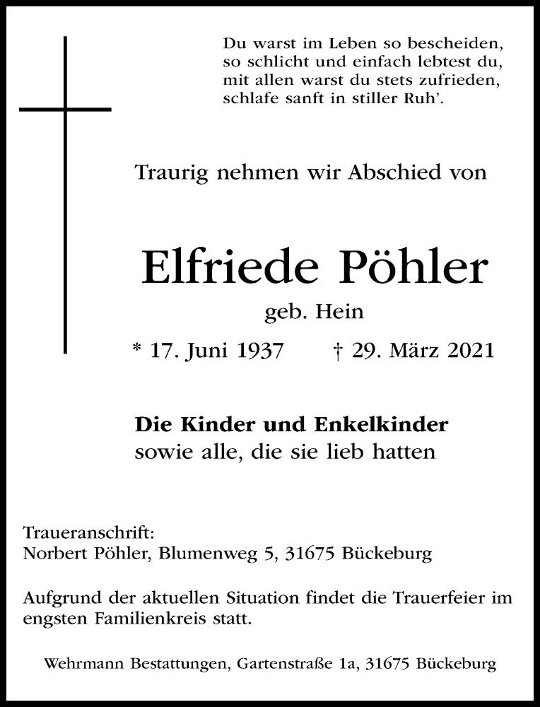 Traueranzeige für Elfriede Pöhler vom 01.04.2021 aus Schaumburger Nachrichten