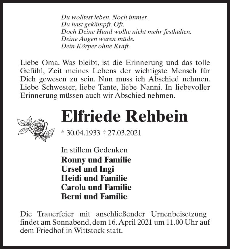 Traueranzeige für Elfriede Rehbein vom 03.04.2021 aus Märkischen Allgemeine Zeitung