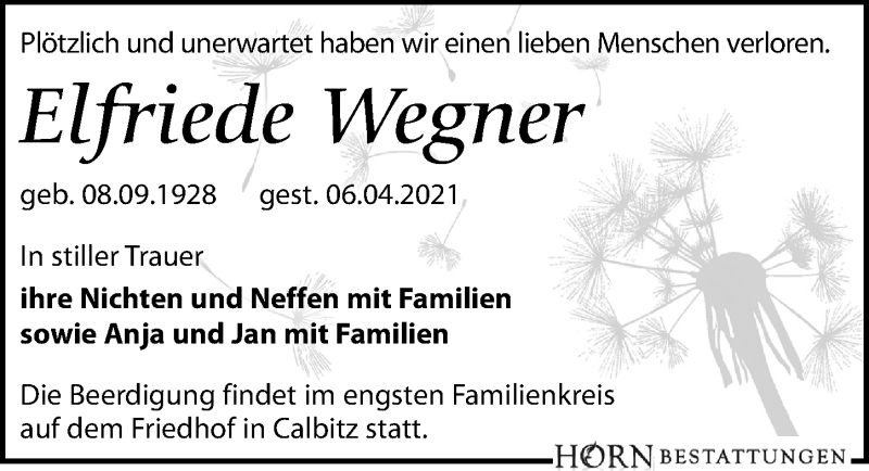 Traueranzeige für Elfriede Wegner vom 10.04.2021 aus Leipziger Volkszeitung
