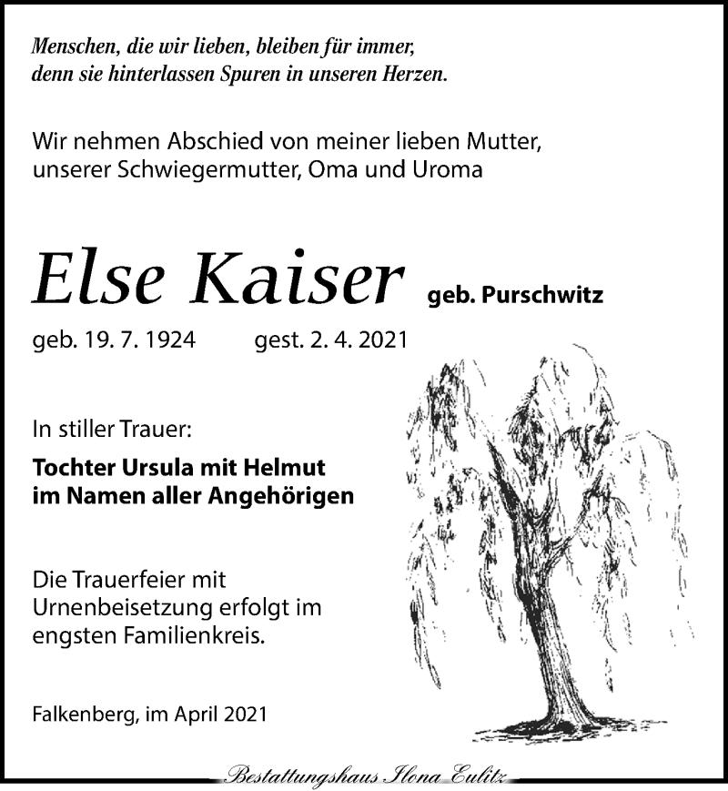 Traueranzeige für Else Kaiser vom 10.04.2021 aus Torgauer Zeitung