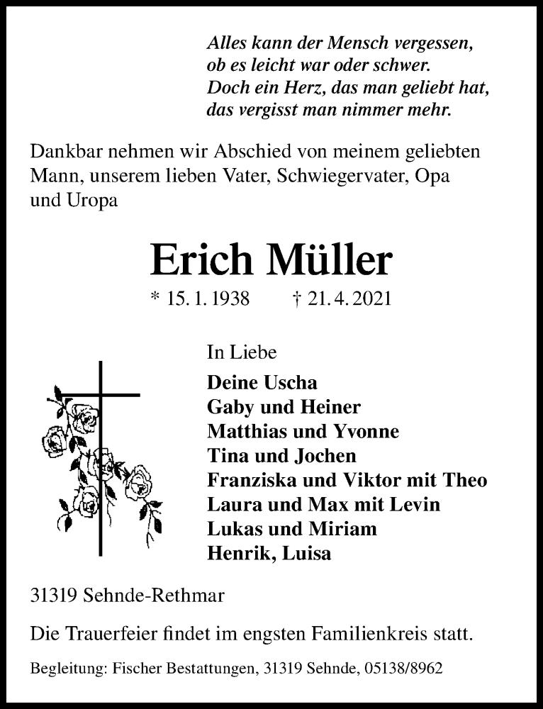 Traueranzeige für Erich Müller vom 30.04.2021 aus Hannoversche Allgemeine Zeitung/Neue Presse