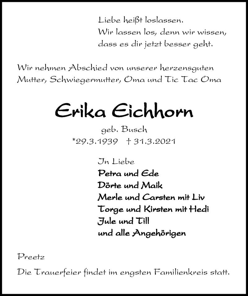 Traueranzeige für Erika Eichhorn vom 03.04.2021 aus Kieler Nachrichten