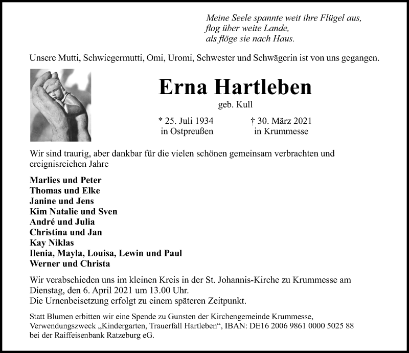 Traueranzeige für Erna Hartleben vom 04.04.2021 aus Lübecker Nachrichten
