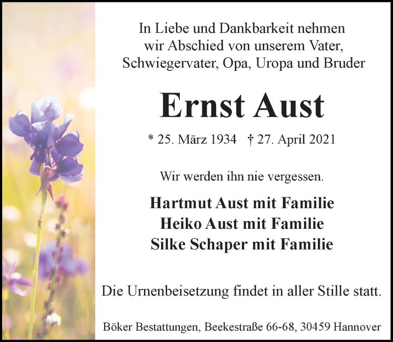 Traueranzeige für Ernst Aust vom 30.04.2021 aus Hannoversche Allgemeine Zeitung/Neue Presse